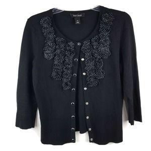 White House Black Market Cardigan Sweater Polka Do